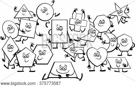 Black And White Cartoon Illustration Of Playful Basic Geometric Shapes Comic Characters Coloring Boo