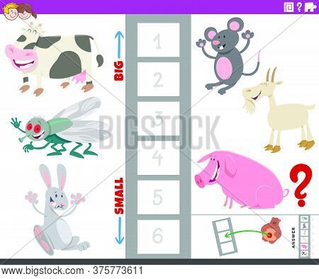 Cartoon Illustration Of Educational Game Of Finding The Largest And The Smallest Animal Species With
