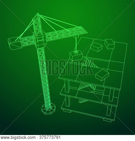 Building Under Construction With Crane. Build House Construct In Process. Wireframe Low Poly Mesh Ve