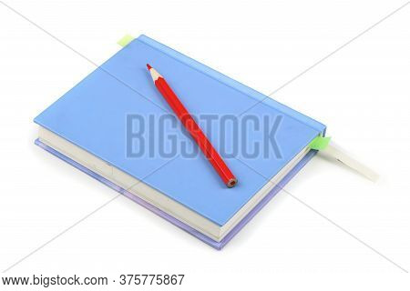 Close Diary Isolated On White Background. High Resolution Photo. Full Depth Of Field.