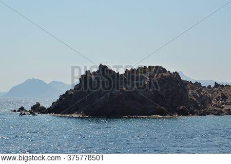 Aegean Sea In Turkey, Panorama Of Mountains And Coast