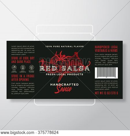 Handcrafted Vegetables Salsa Sauce Label Template. Abstract Vector Packaging Design Layout. Modern T