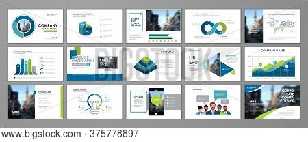 Presentation Templates Design. Vector Templates Portfolio With Blue And Green Elements. Multipurpose