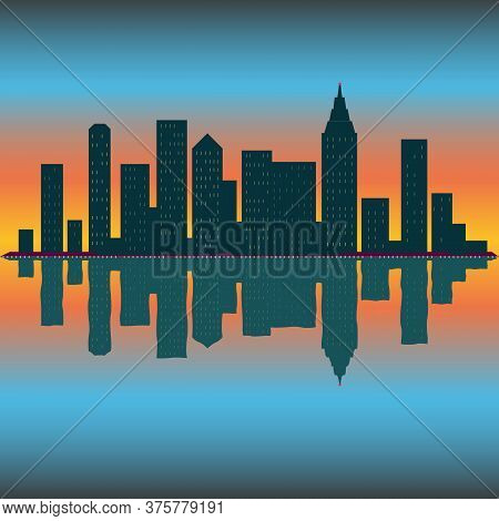 Skyline Wallpaper With Skyscrapers In Sunset Or Sunrise. Eps10 Vector Illustration.