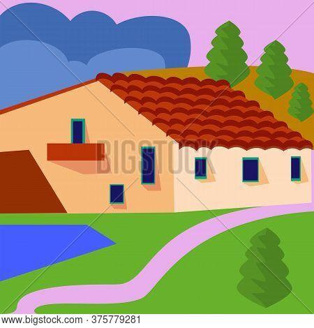 Farm Landscape With Fields And Farmhouse. Vector Illustration
