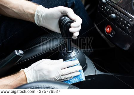 Man Cleaning A Car Interior. Auto Detailing.