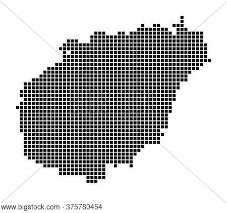 Hainan Map. Map Of Hainan In Dotted Style. Borders Of The Island Filled With Rectangles For Your Des
