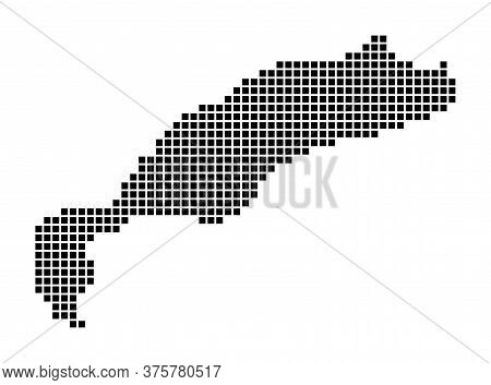 Kos Map. Map Of Kos In Dotted Style. Borders Of The Island Filled With Rectangles For Your Design. V