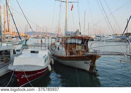Bodrum, Turkish - July 02, 2020: Yachts Parked In The Marina