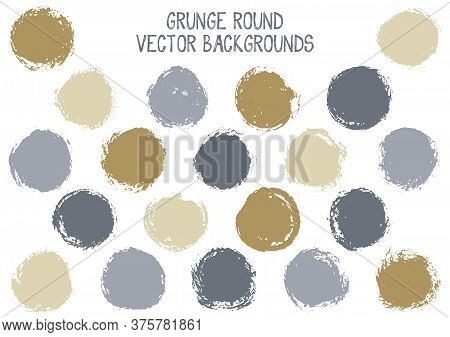 Vector Grunge Circles Isolated. Trendy Post Stamp Texture Circle Scratched Label Backgrounds. Circul