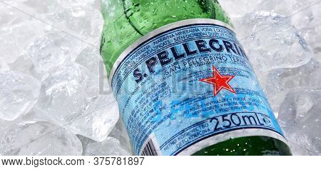 Bottle Of San Pellegrino Mineral Water In Crushed Ice