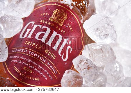 Bottle Of Grant's Scotch Whisky In Crushed Ice