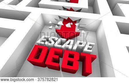 Escape Debt Trap Break Free Financial Bankruptcy Trouble 3d Illustration