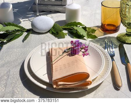 Festive White Table Setting With White Plates, Pink Napkins And Decorations. Wedding Table Setting,