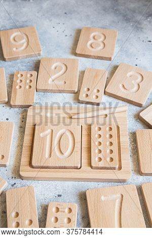 Wooden Counting And Writing Trays - Learning Resource For Educating Littles On Number Writing, Fine