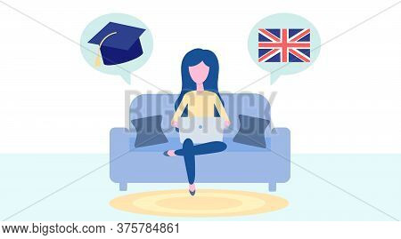 Online English Learning, Distance Education Concept. Language Training And Courses. Woman Student St