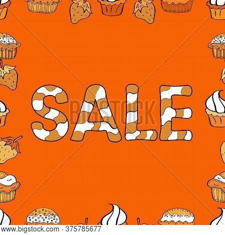 Vector Illustration. Seamless. Picture In White, Orange And Black Colors. Typography Social Media Ic