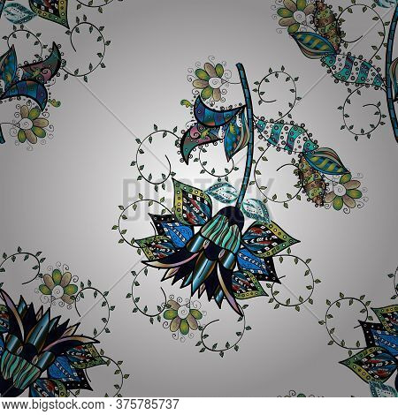 Of Doodle Elements. Hand Drawn Vector Illustration. Seamless Flower Pattern Can Be Used For Sketch,