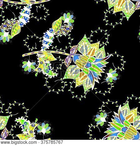 Flowers On Green, White And Black Colors. Floral Seamless Pattern Background, Summer Flowers. Colour
