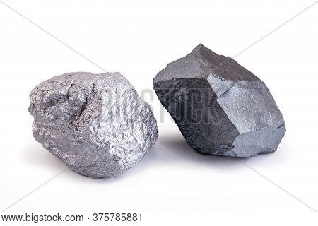 Iron Ore And Silver Stone Isolated On White Background, Export Ore Used In Worldwide Industry