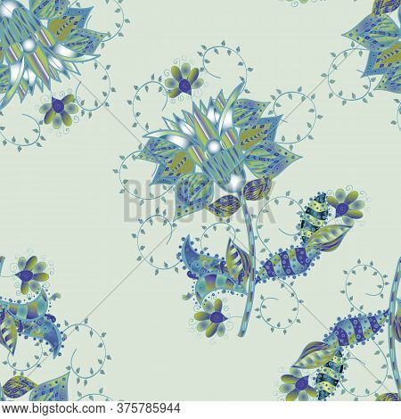 Tender Seamless Pattern With Flowers. Vector Illustration. Gentle, Spring Floral On Neutral, Gray An