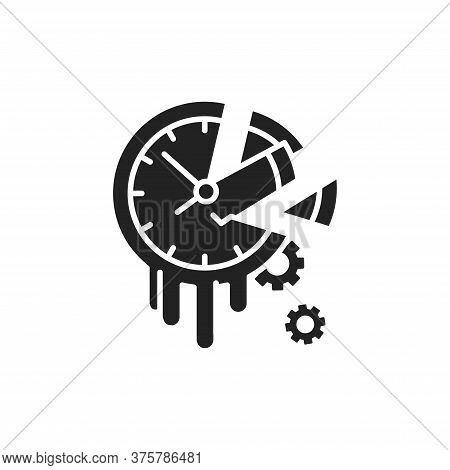 Waste Time Black Glyph Icon. Procrastination And Laziness Concept. Sign For Web Page, Mobile App, Bu