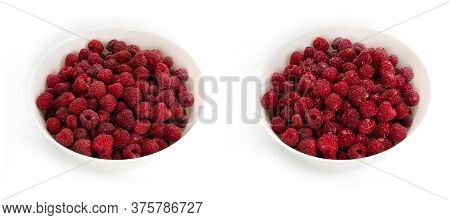 Unwashed And Washed Raspberries In White Deep Plates On A White Background.