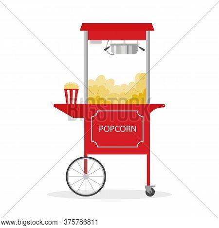 Cartoon Popcorn Cart, Street Food. Vector Illustration.