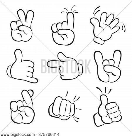 Various Gestures Of Cartoon Human Hands. Vector Illustration.