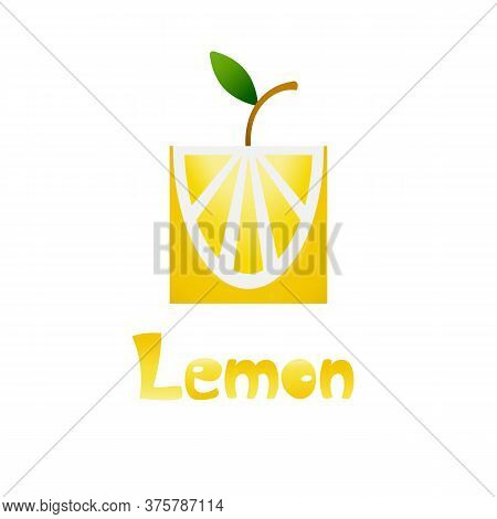 Fresh Tropical Citrus Fruit In A Flat Stylized With A Gradient. Hand Draw Lettering Lemon. Lemon For