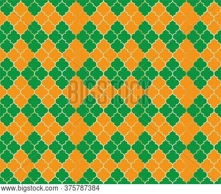 Moroccan Mosque Vector Seamless Pattern. Argyle Rhombus Muslim Textile Background. Traditional Mosqu
