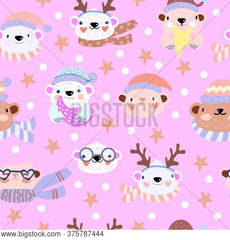 Scandinavian Christmas Seamless Pattern With Cute Holiday Bears, Hats, Scarfs, Stars, Moose Antlers