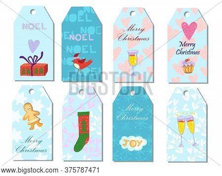 Printable Christmas Tags Set With Gingerbread, Gift Box, Bullfinch, Glass, Cake, Short Phrases. Wint