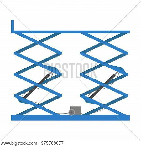 Scissors Lift Platform, Isolated On White Background. Vector Illustration.