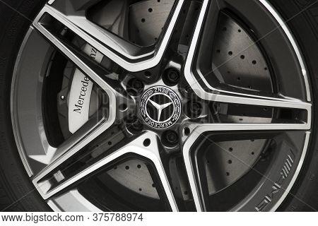 Kiev, Ukraine - May 22, 2020: Wheel Of A Mercedes Car. Car Disk And Tire. The Brakes. Caliper. Backg