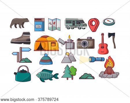 Camping Icons Equipment Vector Collection On White Background. Autumn Forest Camping -campfire, Tree