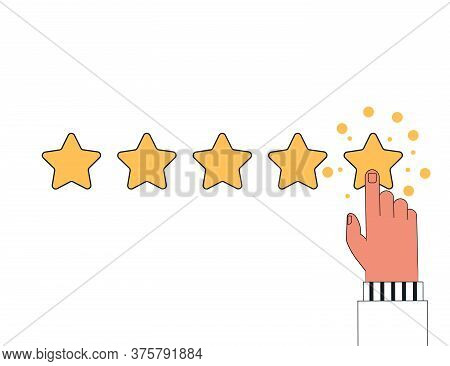 Customer Reviews, Rating, User Feedback Concept. The Human Finger Clicks On The Fifth Star, Leaving