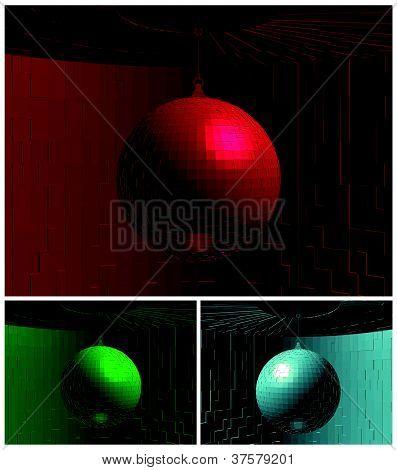 RGB Color Disco Ball In Room Vector