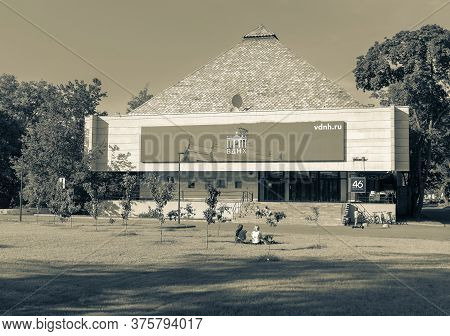 Moscow, Russia - June 13, 2020: Vdnh Park At Sunny Summer Morning. Pavilion 46. Vdnh Is Popular Hist