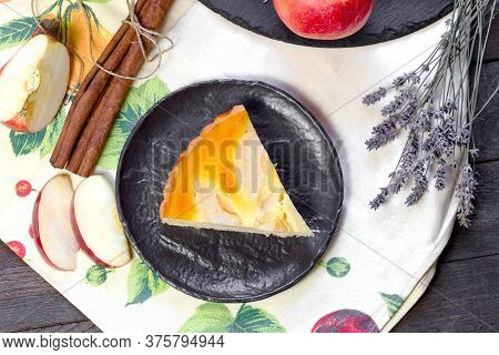 Homemade Apple Pie On Plate Decorated With Lavender Flower