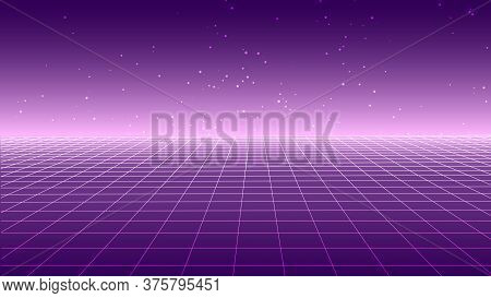 Synthwave Background. Retro Futuristic Backdrop With Perspective Grid And Stars. Pink Glow In Distan