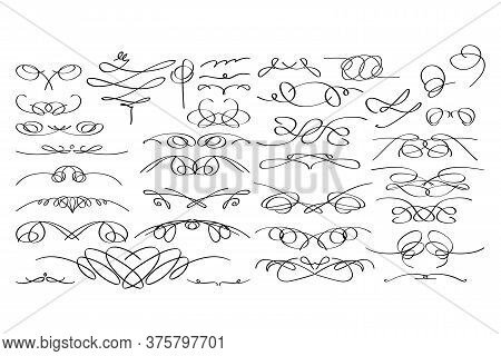 Calligraphic Decorative Elements In Vector Format. Hand Drawn Vignettes Collection.