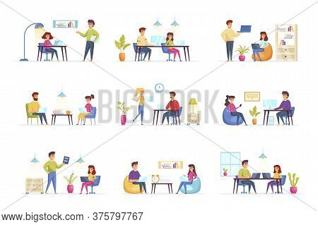 Coworking Office Bundle With People Characters. Designers And Developers Communicate And Working Tog