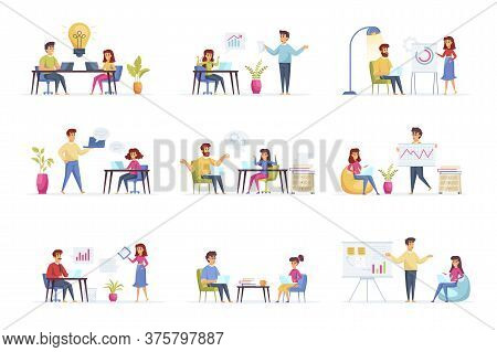 Business Meeting Scenes Bundle With People Characters. Negotiation Of Partners, Manager Making Prese