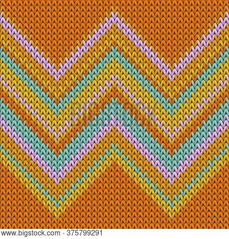 Chunky Zig Zal Lines Christmas Knit Geometric Seamless Pattern. Fair Isle Sweater Stockinet Ornament