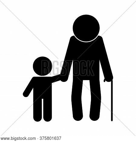 Grandfather And Grandson Avatar Silhouette Style Icon Design, Family Relationship And Generation The