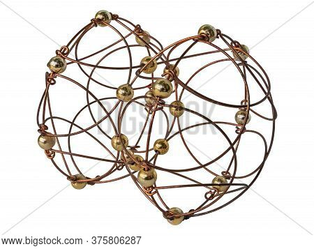 A Puzzle Created By Hand In A Artisanal Way From Wire And Balls. Consists Of Two Openwork Hemisphere