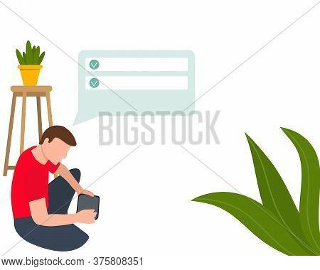 Blogging, Various Video Blogger Make Review. Freelancers Makes A Digital Technology. Bloggers Flat M