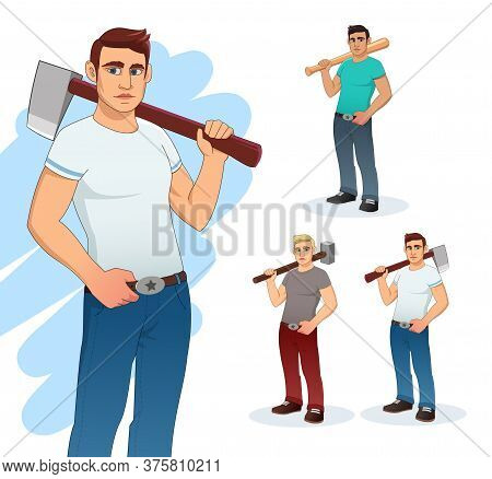 Man Cartoon Character- Vector Illustration. Vector Male Character Illustration