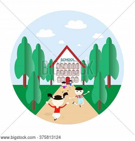 School Building Glad Children Round Banner. Art Flat Design Element Stock Vector Illustration Blue S